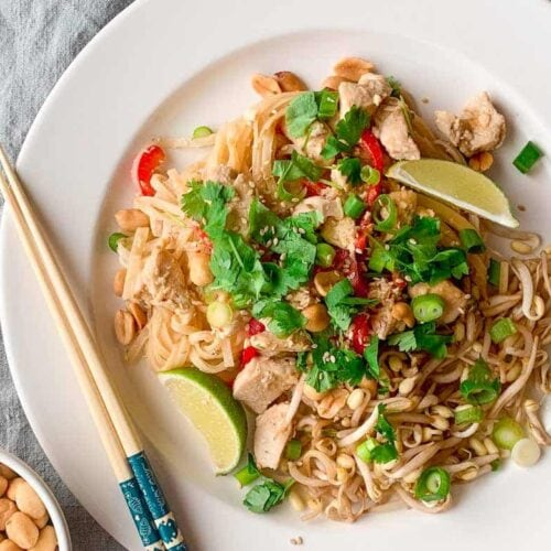 Spicy chicken Pad Thai with peanuts and cilantro on a white plate