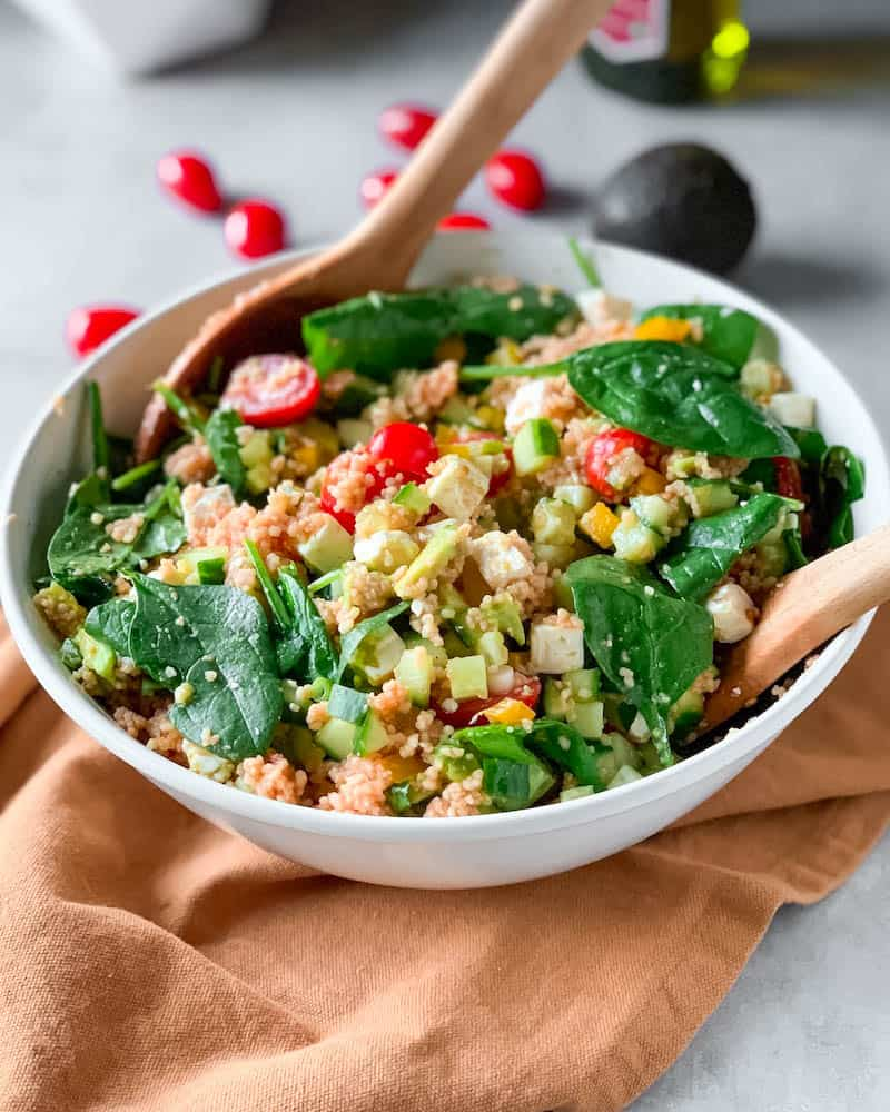 Couscous salad with feta and avocado