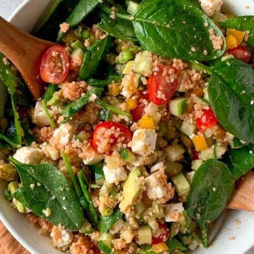 Couscous salad with feta and avocado thumbnail