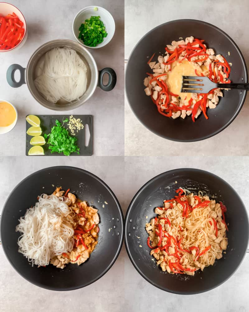 Step by step how to cook spicy chicken Pad Thai