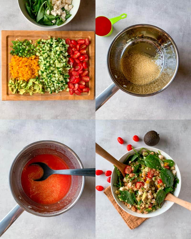 How to make couscous salad with feta and avocado