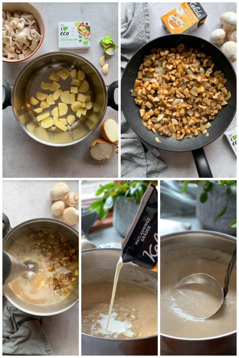 Step by step how to make easy creamy mushroom soup