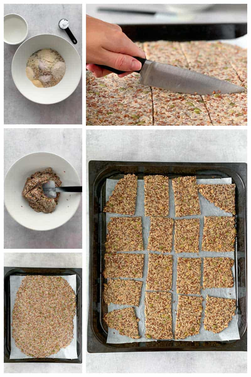 Step by step how to make keto seed crackers