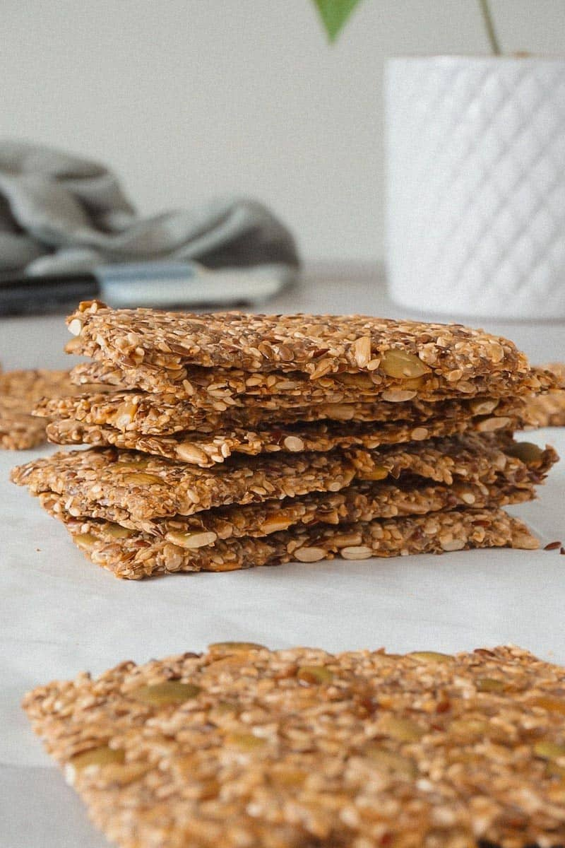 Pile of keto seed crackers