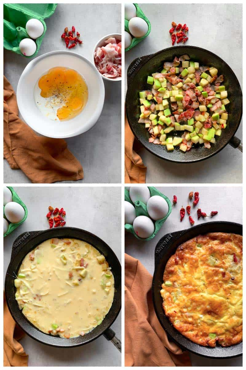 Step by step hw to make spicy bacon frittata
