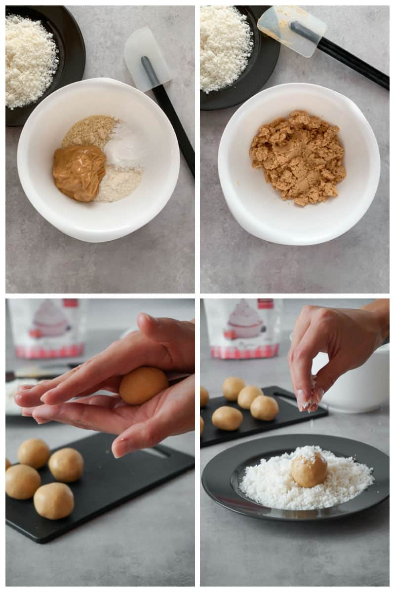 Step by step how to make easy keto peanut butter balls.