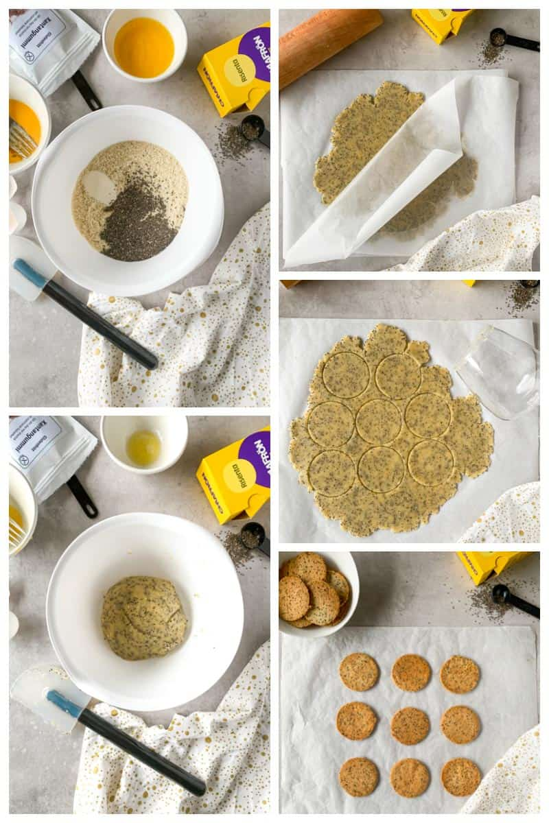 Step by step how to make low carb chia crackers.