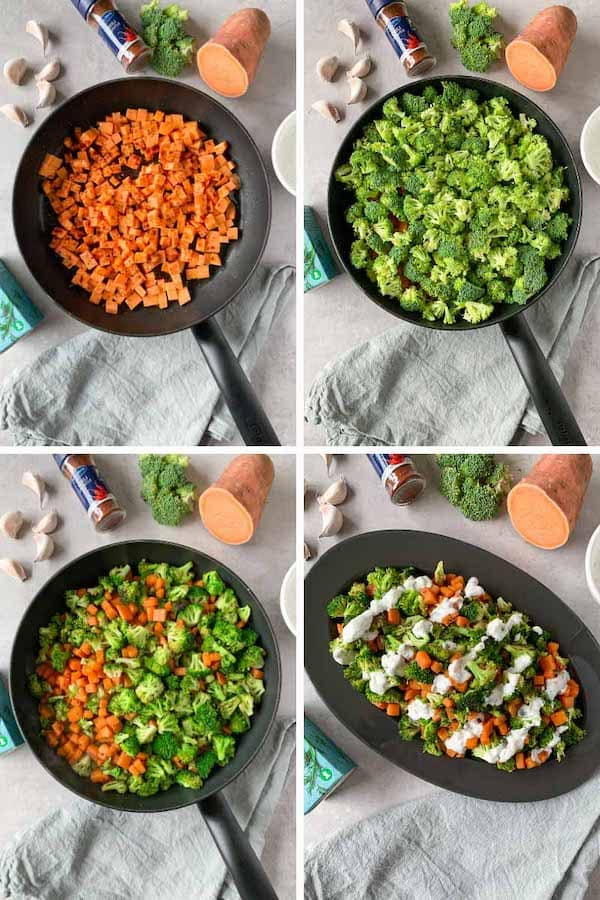 Step by step how to make garlic ranch sautéed broccoli and sweet potatoes.