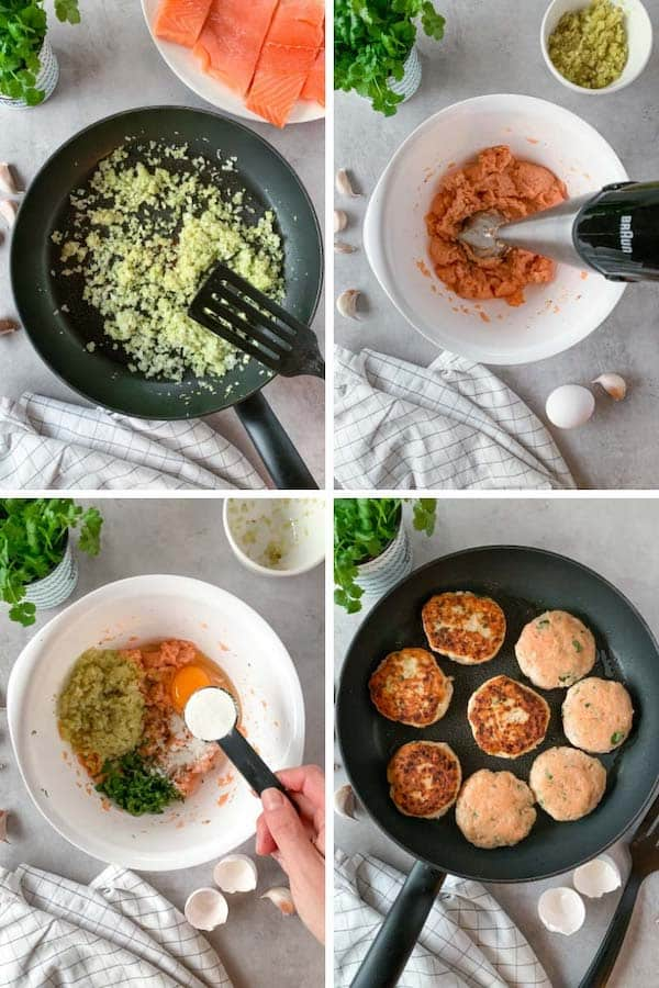 Step by step how to make low carb salmon patties.