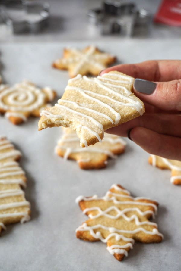 Freshly-baked keto cut-out sugar cookies with white royal icing.