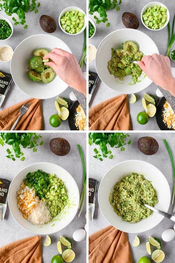 Step by step picture instruction on how to make keto egg salad with avocado.