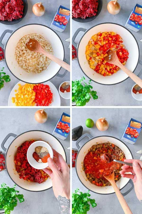 Step by step instruction how to make no bean chili