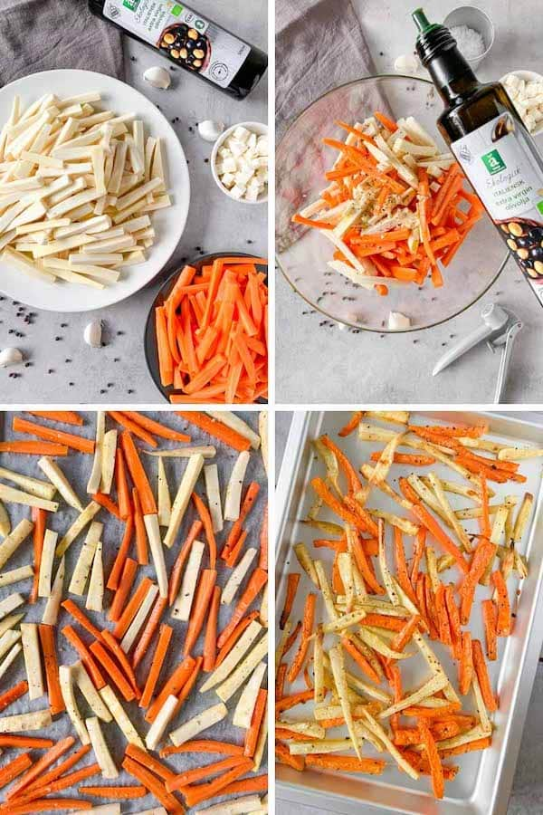 Step by step 4 images collage instruction on how to make roasted carrots and parsnips with white cheese.
