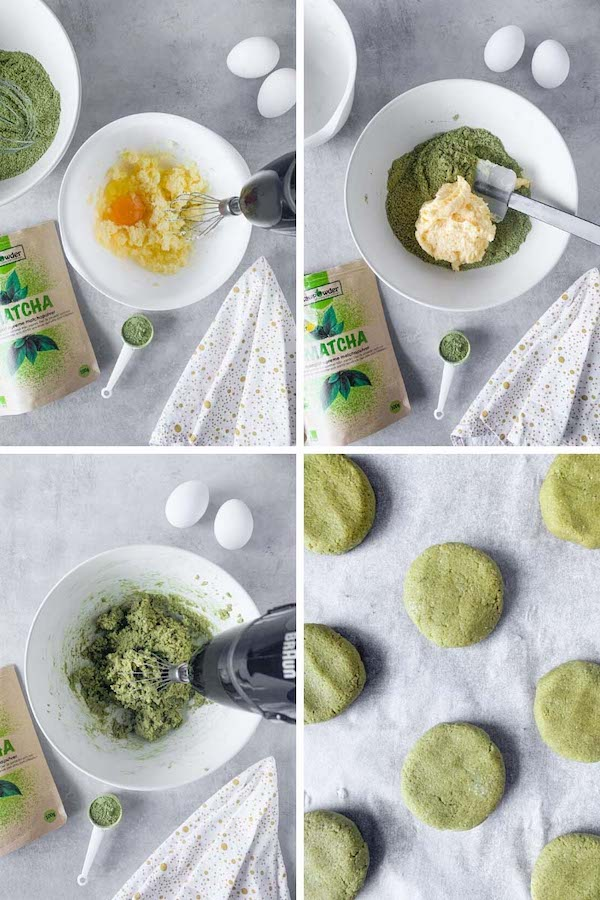 Step by step 4 images collage instruction on how to make cookies with matcha powder.