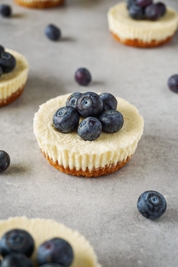 Gluten-free and sugar-free keto cheesecake bites topped with fresh blueberries lying on a grey working surface.