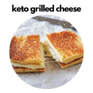 Keto grilled cheese sandwich with low carb bread, mozzarella and gouda cheese.