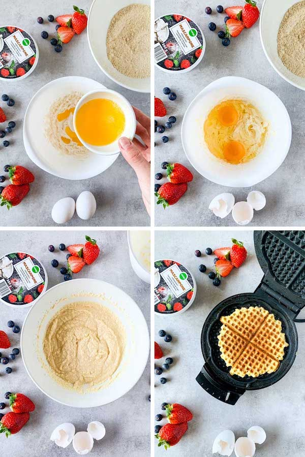 Step by step 4 images collage instruction on how to make low carb waffles.