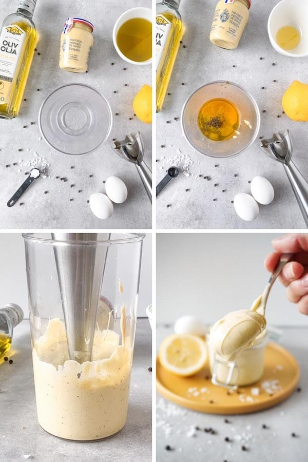 Process picture on how to make instant keto mayonnaise.