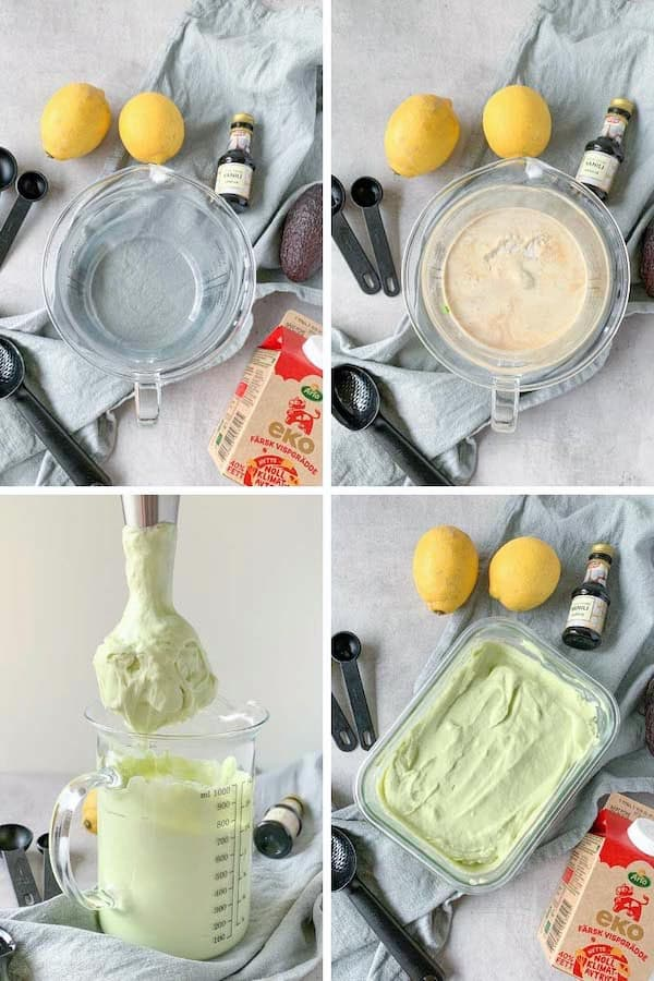 Step by step collage picture on how to make no-churn keto ice cream.