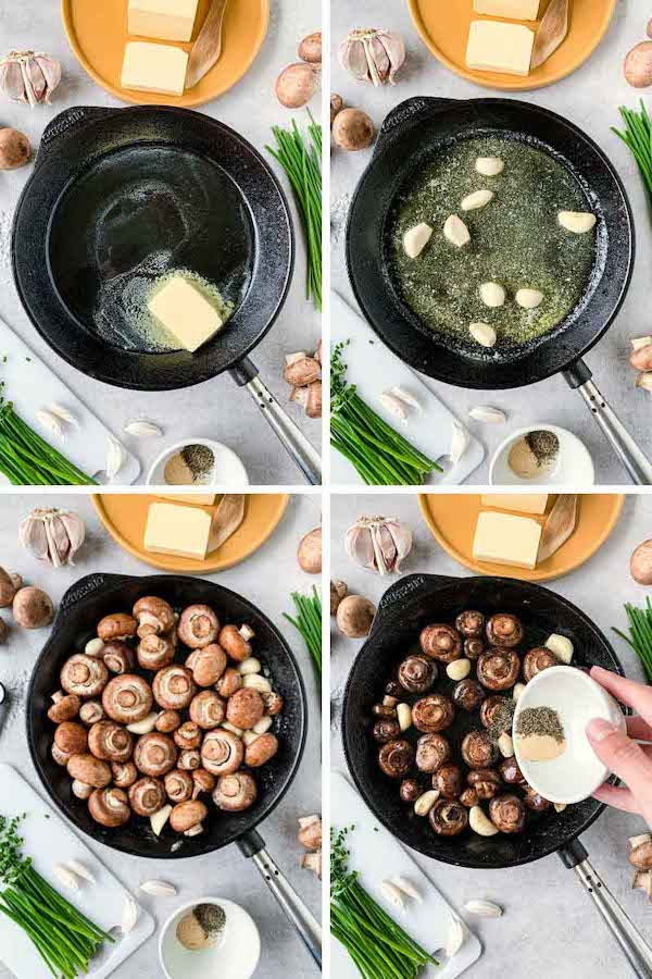 Step by step process picture on how to make sautéed mushrooms with butter and garlic.