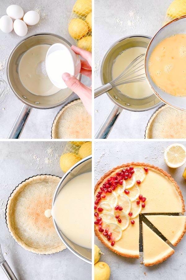 4 steps process shot on how to make gluten-free vanila custart tart recipe.