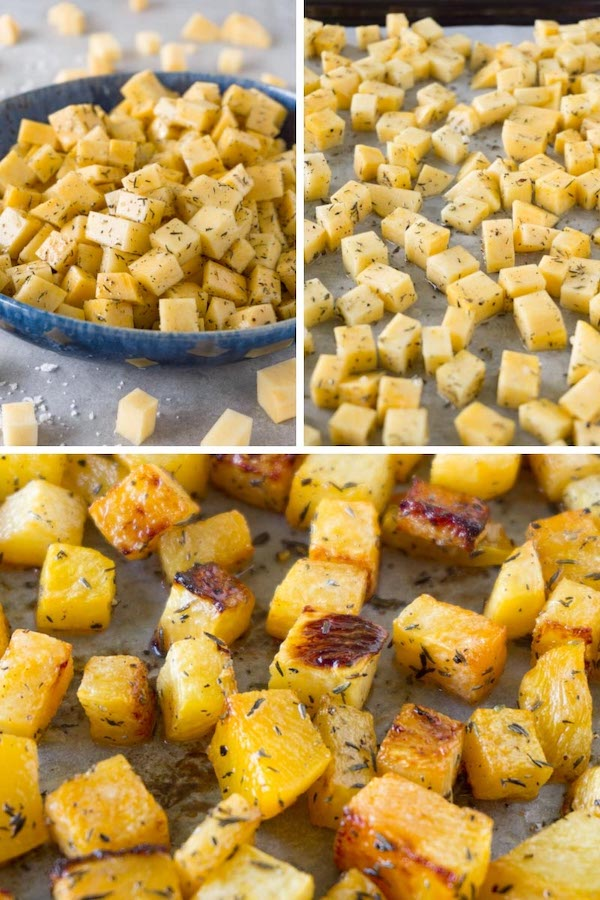 3 images collage picture on how to make oven baked rutabaga recipe.