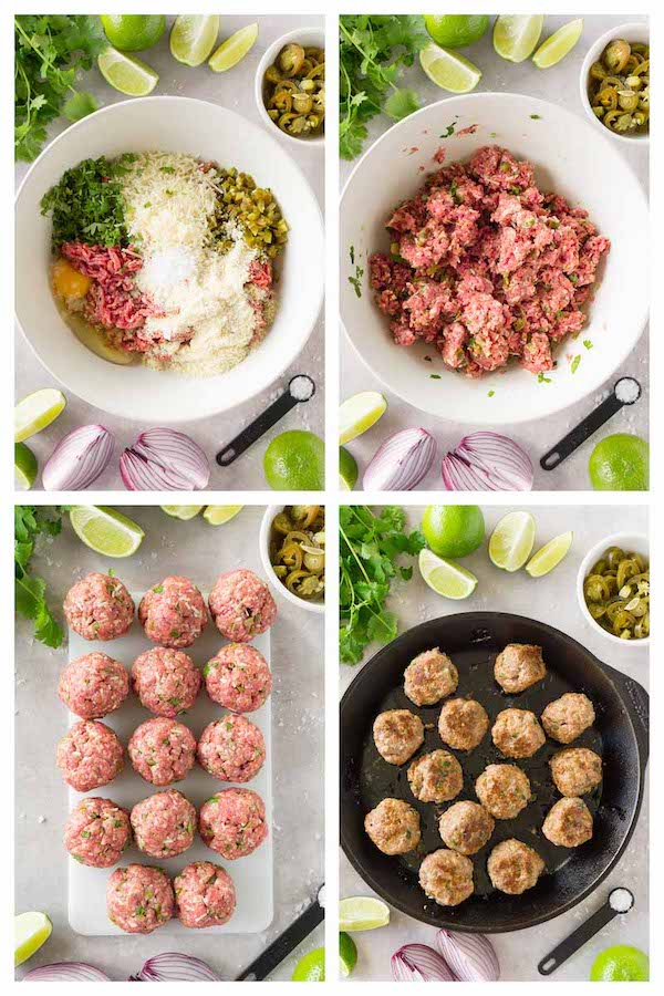 4 images collage picture showing step-by-step process of making gluten-free low-carb meatballs with jalapeños and cheese.