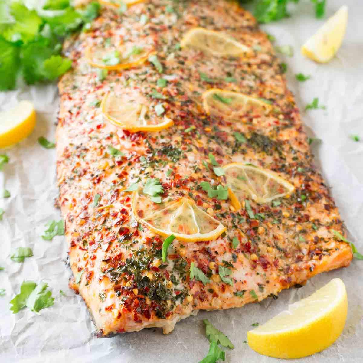 Healthy Keto salmon with cilantro