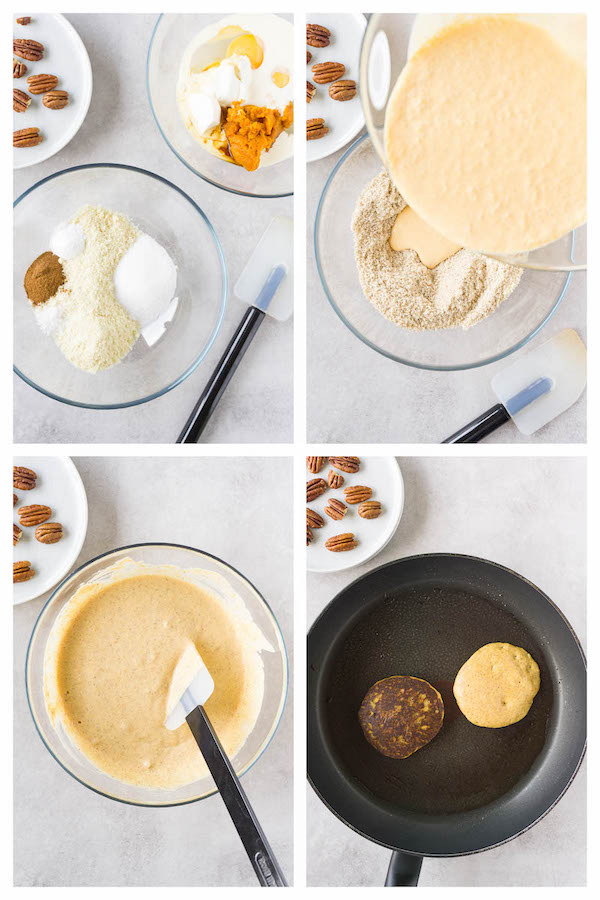Step by step collage image showing how to make keto pumpkin pancakes.