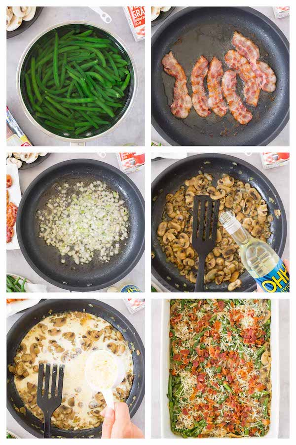 Step by step collage image showing how to make keto green bean casserole.