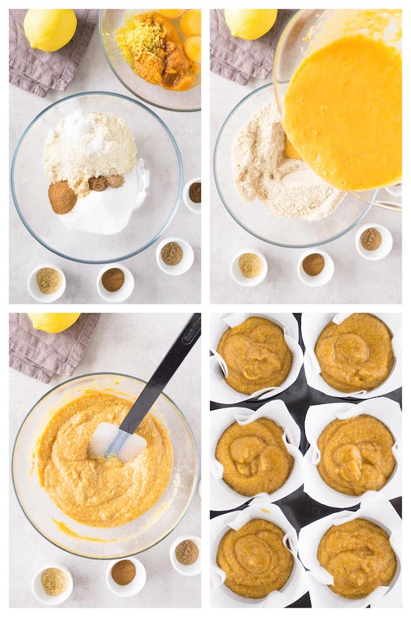 Step by step 4 images collage showing how to make baked keto pumpkin muffins.