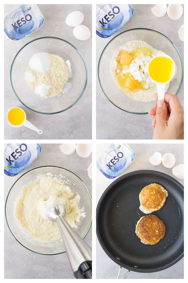 4 steps collage image showing how to make keto cottage cheese pancakes.