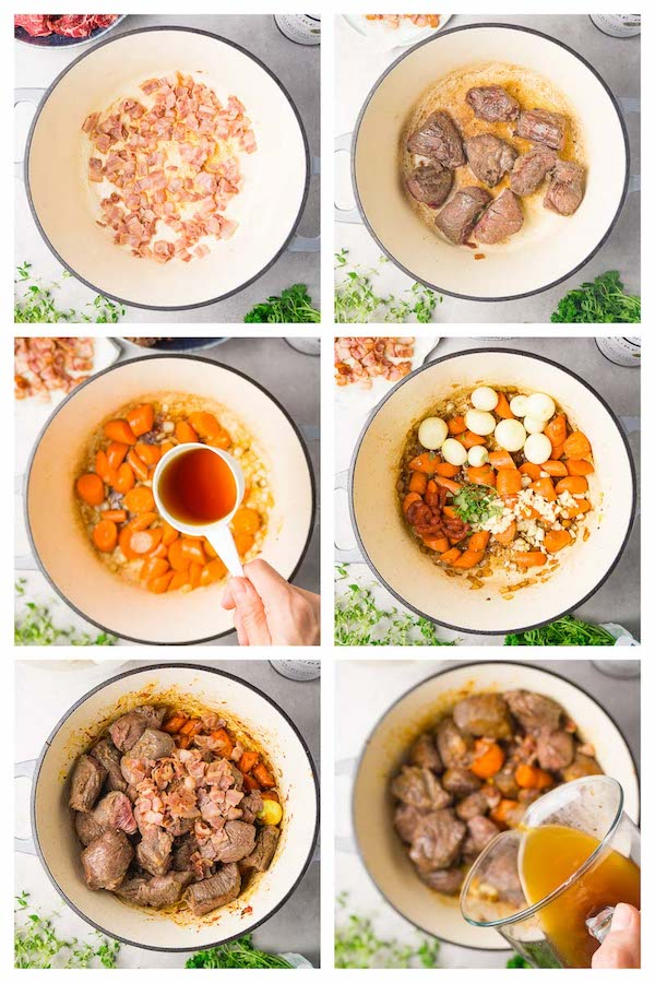 6 steps collage image showing how to make beef Bourguignon recipe.