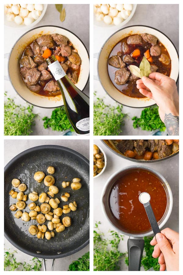 4 images collage picture showing how to make easy beef Bourguignon with mushrooms.