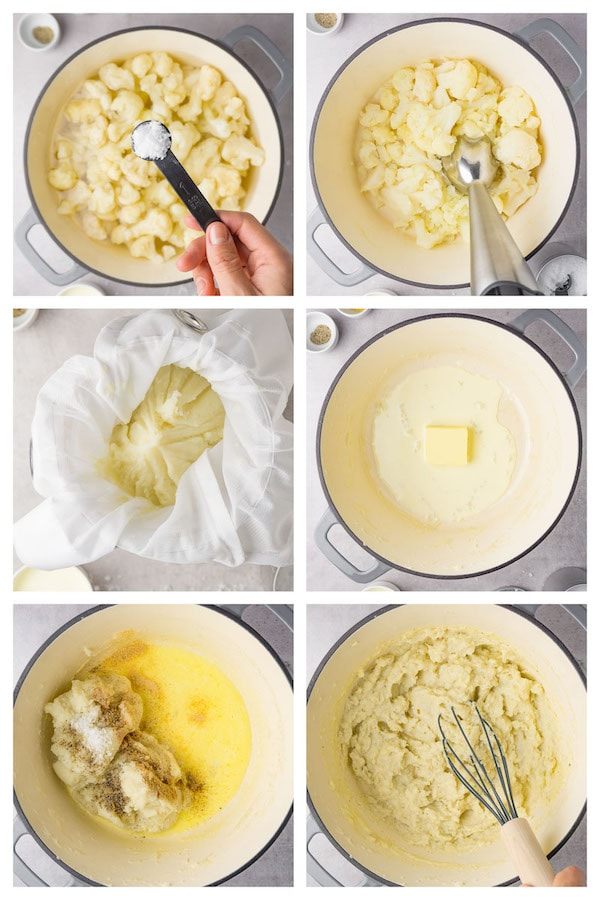 6 steps collage image showing how to make keto cauliflower mash.