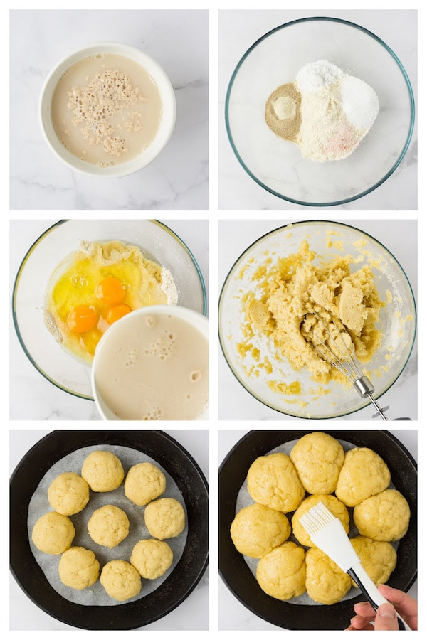 6 steps collage image showing how to make keto dinner rolls.