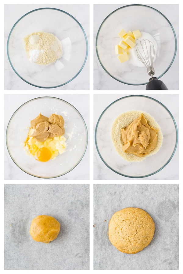 6 steps collage image showing how to make almond flour peanut butter cookies.