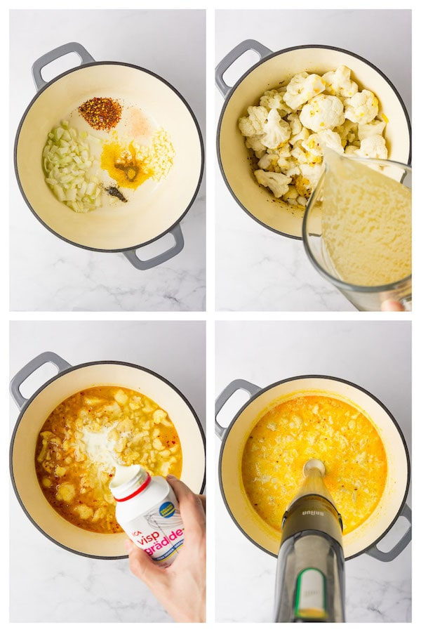 4 images collage picture showing how to make keto cauliflower soup.