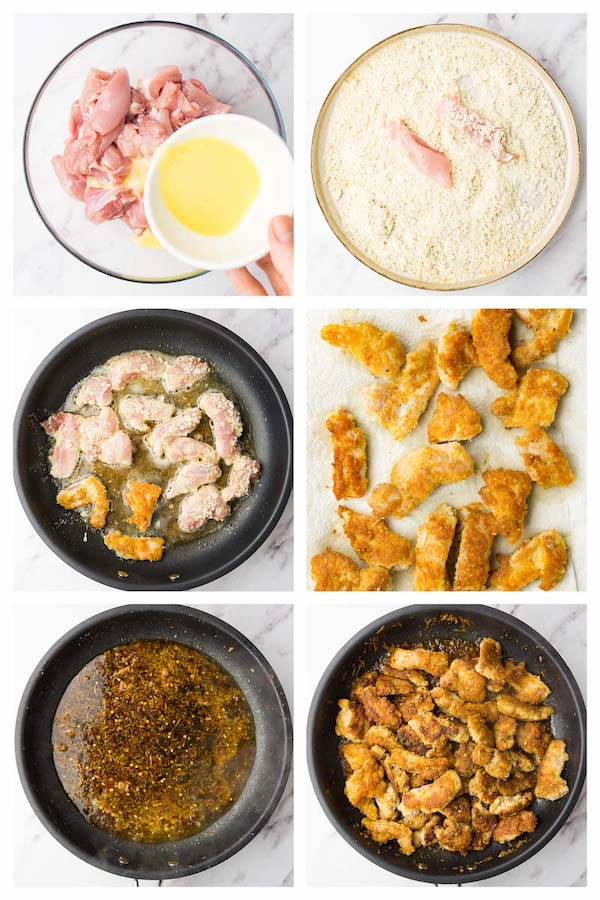 6 steps collage image showing how to make keto orange chicken.