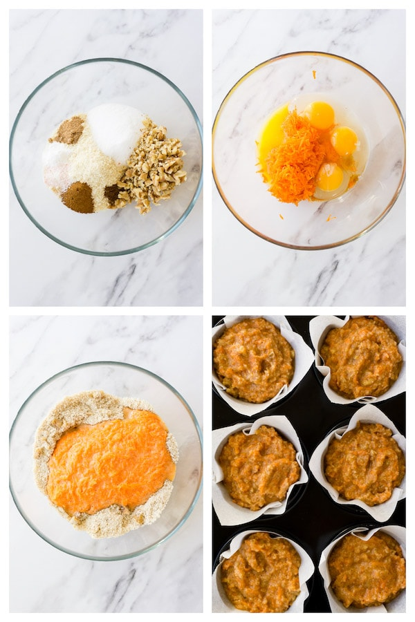 4 images collage picture showing how to make keto healthy carrot cake muffins.