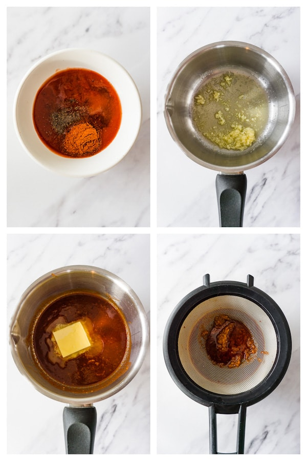 4 images collage picture showing how to make keto buffalo sauce.