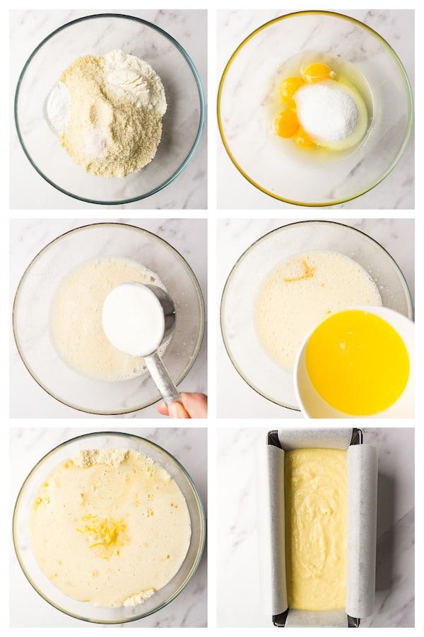 6 steps collage image showing how to make keto lemon pound cake.