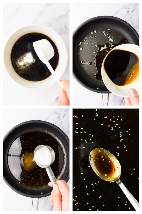 4 images collage picture showing how to make keto teriyaki sauce.