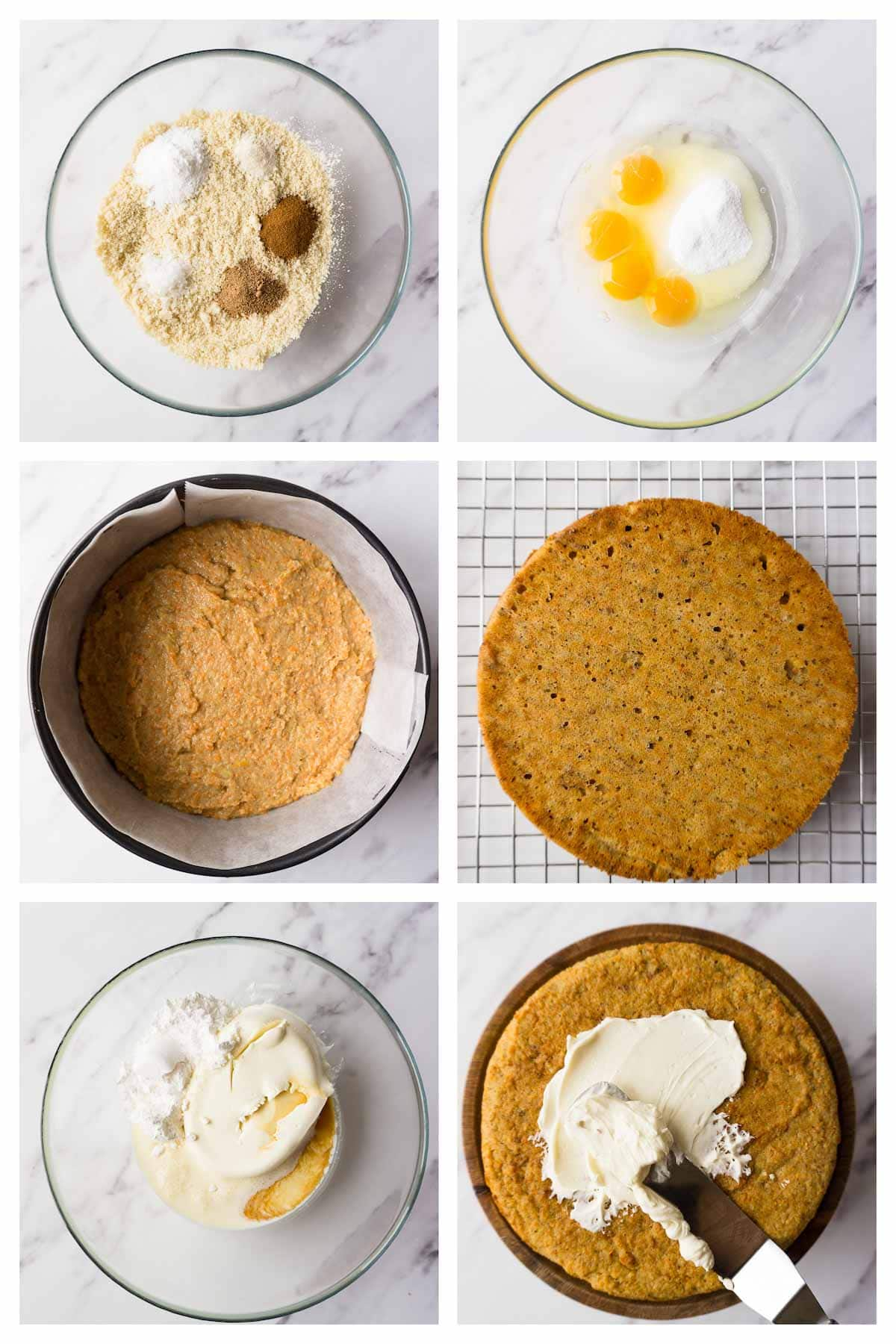 6 steps collage image showing how to make keto carrot cake.