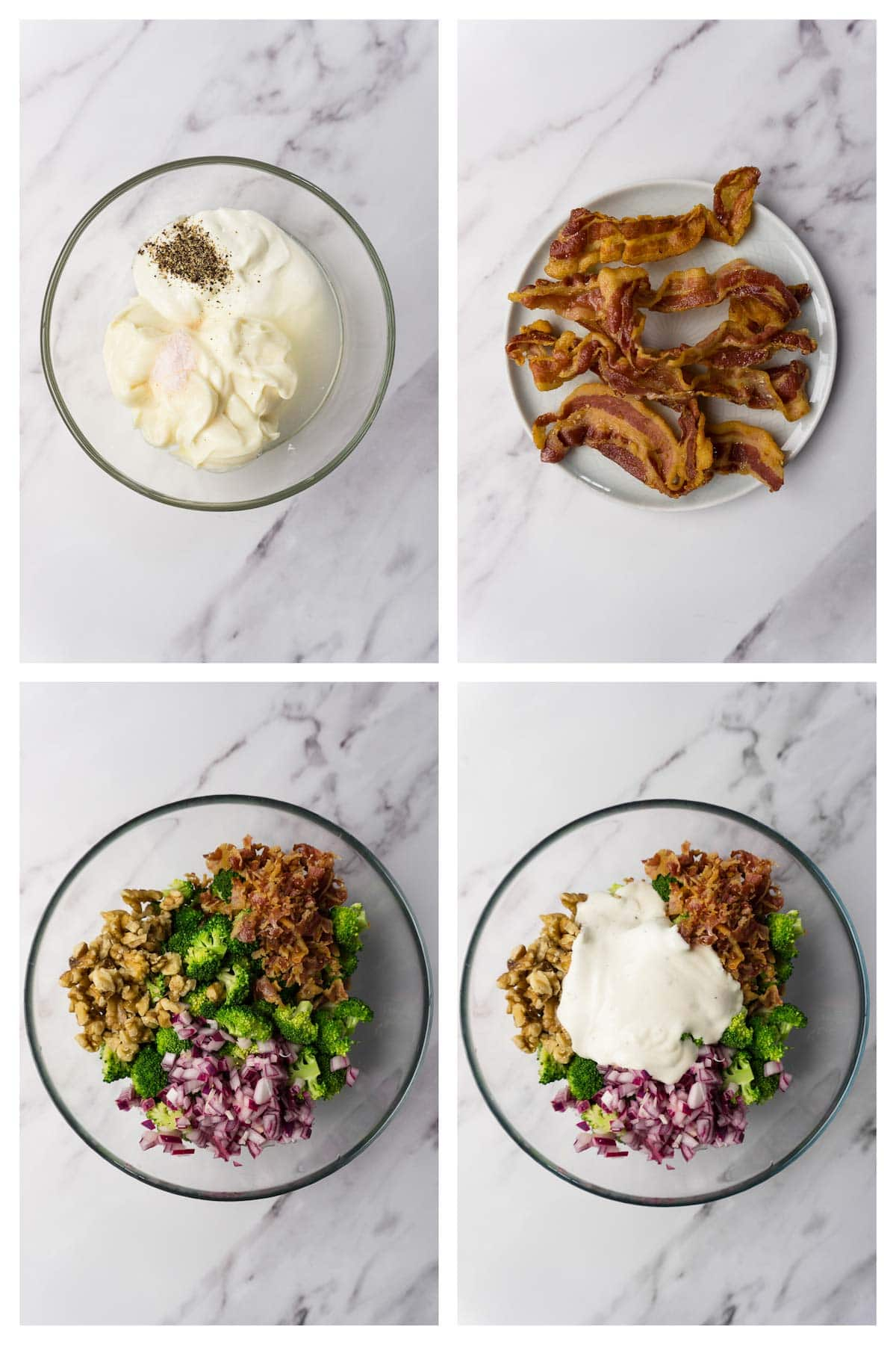 4 images collage picture showing how to make broccoli salad with bacon, onions and walnuts.