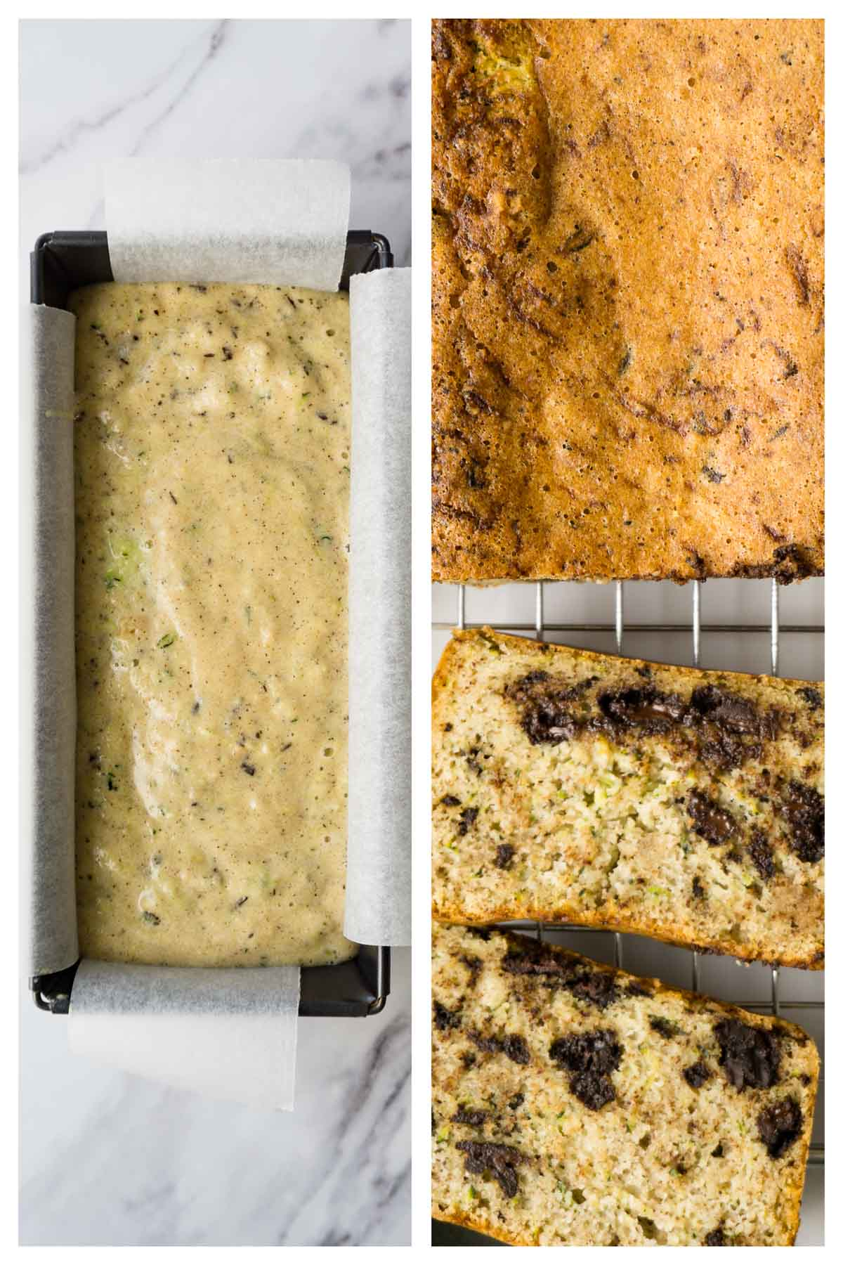 A loaf pan filled with gluten-free zucchini bread batter on the left side, and freshly baked and partially sliced loaf on the right side of the picture.