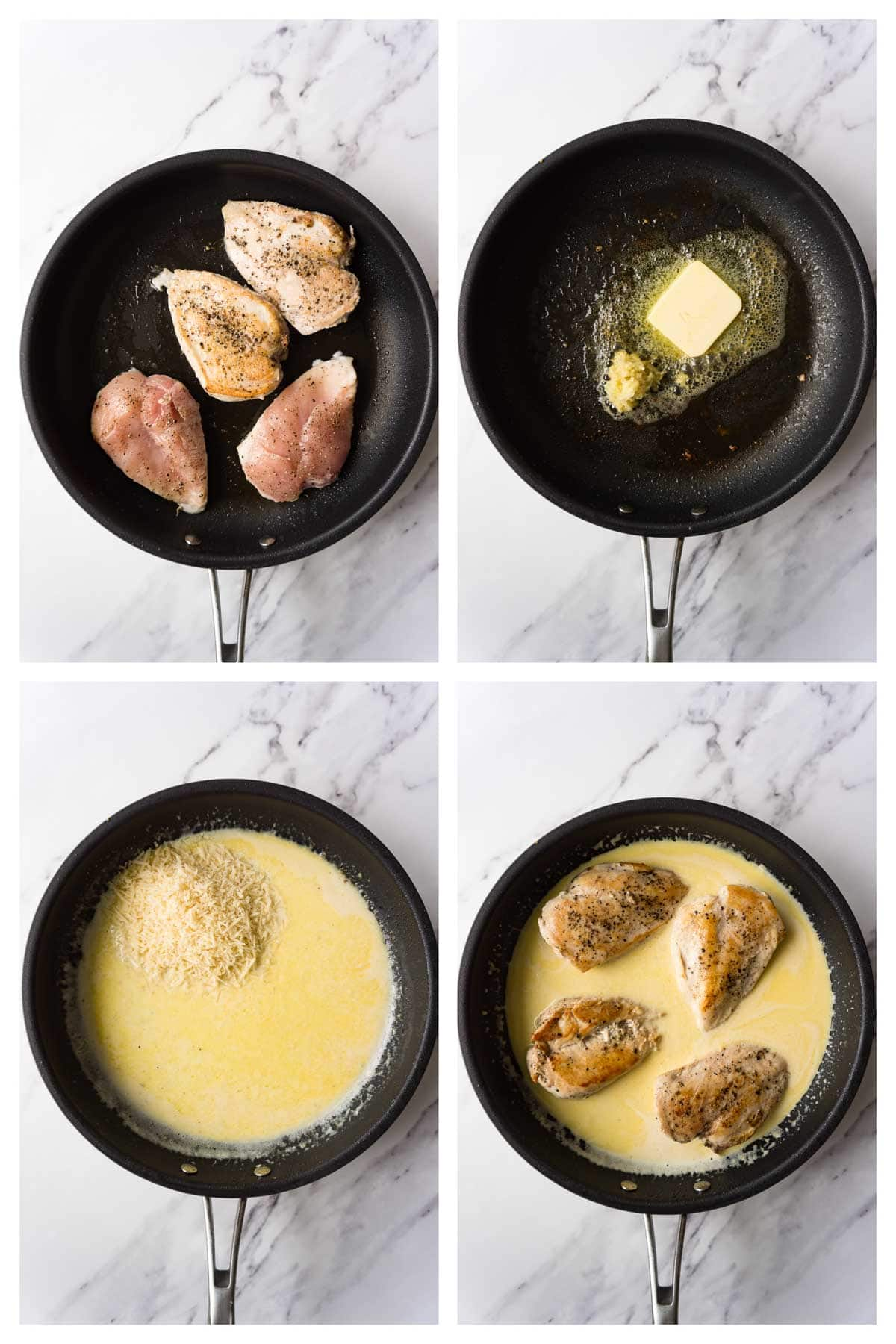 4 images collage picture showing how to make keto chicken alfredo.