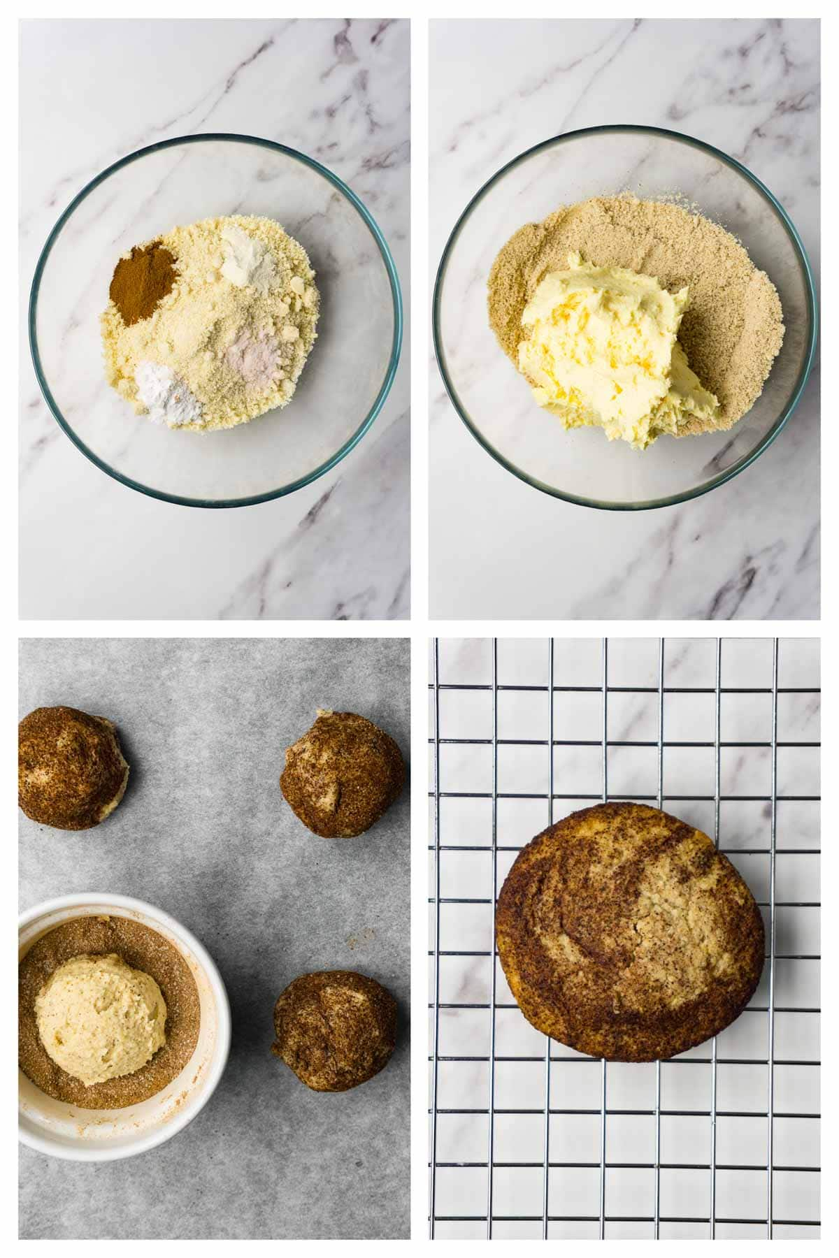 4 images collage picture showing how to make keto snickerdoodle cookies.