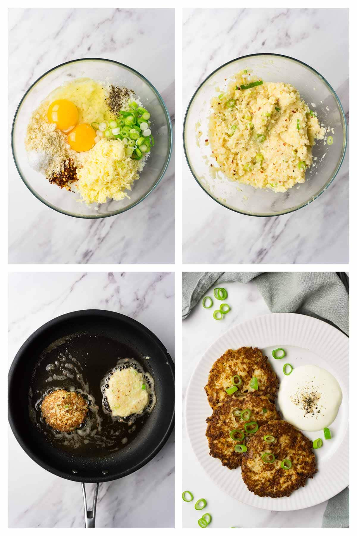 4 images collage picture showing how to make cauliflower hash browns.