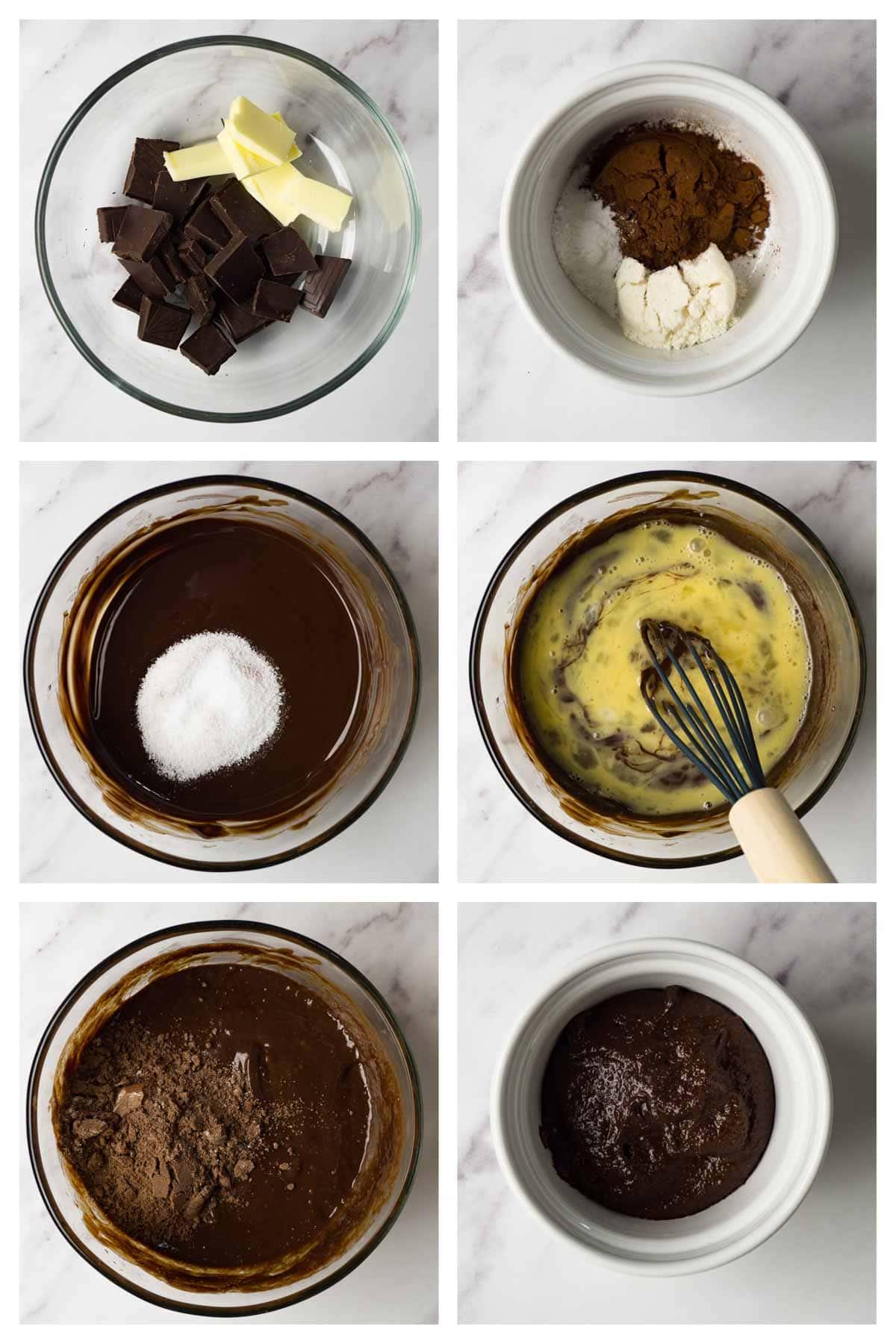 6 steps collage image showing how to make keto chocolate mug cake.